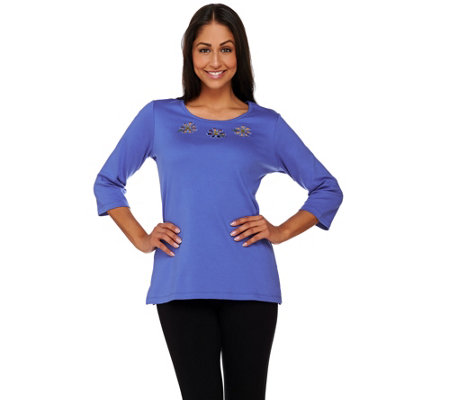 Quacker Factory Springtime Cut-Out 3/4 Sleeve T-shirt