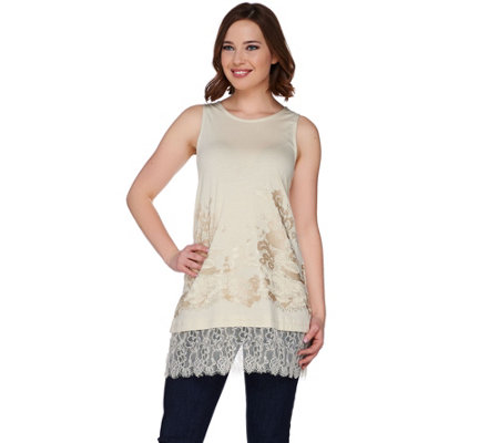 LOGO Lavish by Lori Goldstein Knit Tank with Embroidery and Lace Trim