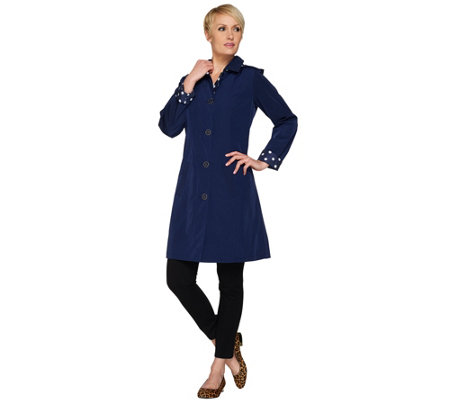 Isaac Mizrahi Live! Reversible Water Repellent Trench Coat