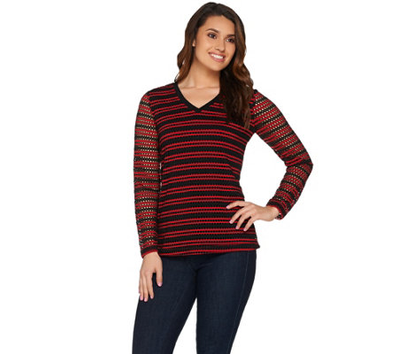 Susan Graver Weekend Striped Novelty Knit Long Sleeve Top