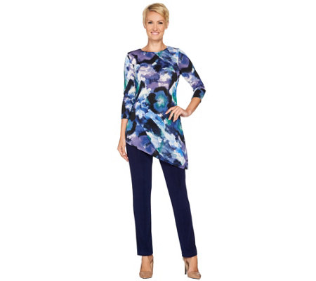 Attitudes by Renee Regular Radiant Knit Printed Tunic and Pants Set