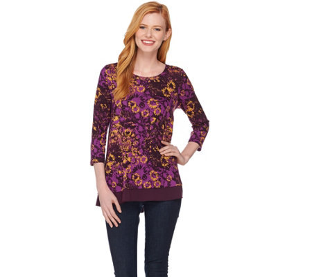 LOGO by Lori Goldstein Printed Top with Solid Trim