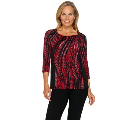 Susan Graver Printed Liquid Knit Drape Front Top w/ Solid Insets