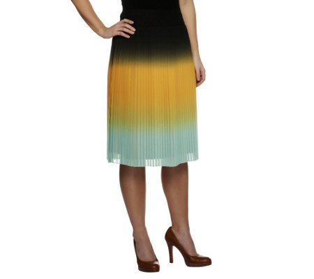 """As Is"" G.I.L.I. Petite Pleated Dip Dye Woven Skirt"