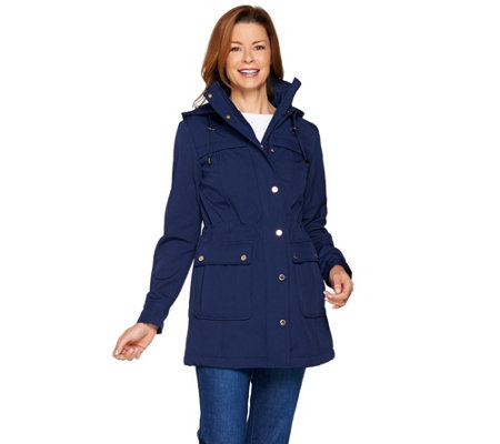 Isaac Mizrahi Live! Softshell Anorak Jacket with Removable Hood