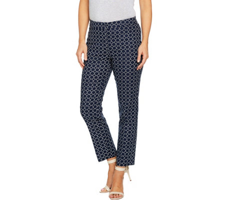 Susan Graver Printed Stretch Woven Slim Leg Ankle Pants