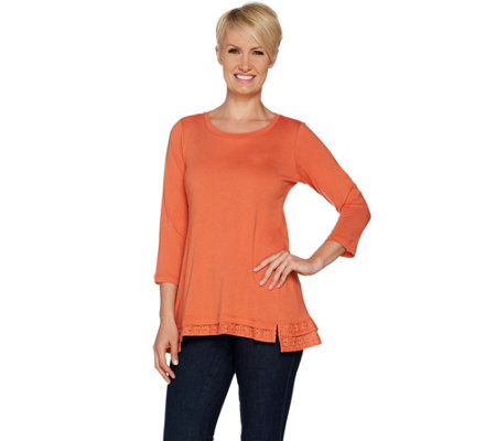 LOGO by Lori Goldstein Cotton Modal Knit Top with Eyelet Ruffles