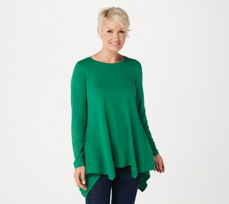 LOGO by Lori Goldstein Cotton Modal Top with Seaming Detail