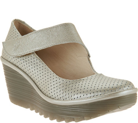 """As Is"" FLY London Leather Perforated Mary Janes - Yeon"