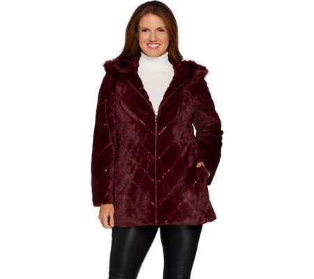 Dennis Basso Chevron Faux Fur Hooded Coat with Embellishment
