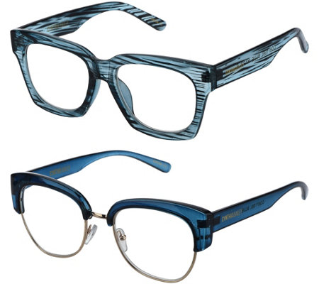 Cynthia Bailey Eyewear S/2 Readers with Case Strength 3-3.5
