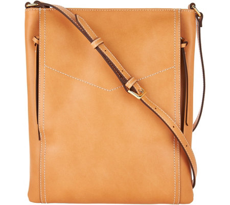 """As Is"" G.I.L.I. Leather Double Zip Flat Crossbody"
