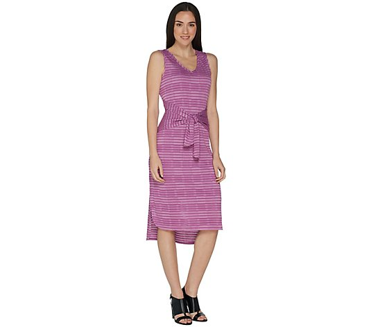 H by Halston Petite Knit Pattern Midi Dress with Waist Tie
