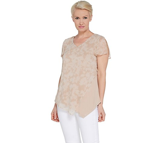 H by Halston Printed Chiffon Overlay Top w/ Flutter Sleeve