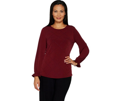 """As Is"" Susan Graver Liquid Knit Top with Sparkle Detail"