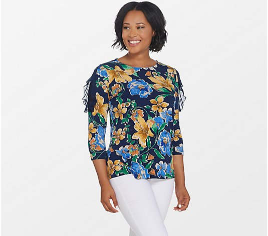 Susan Graver Printed Liquid Knit Top with Lace & Chiffon Details