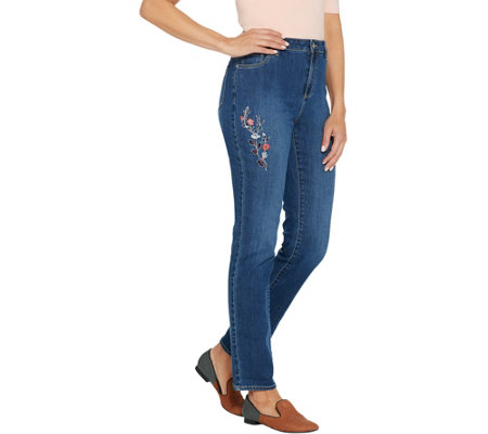 Susan Graver Petite High Stretch Fly Front Jeans With Embroidery