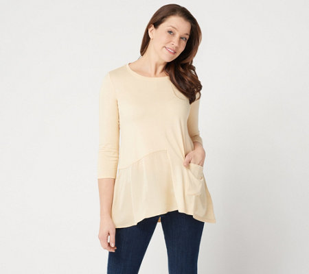 Logo By Lori Goldstein Cotton Modal Top With Satin Panel Hem