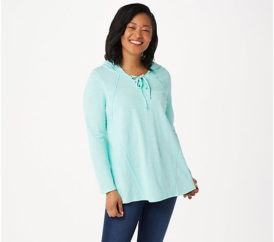 Belle by Kim Gravel Slub Knit Lace Trim Hoodie Top