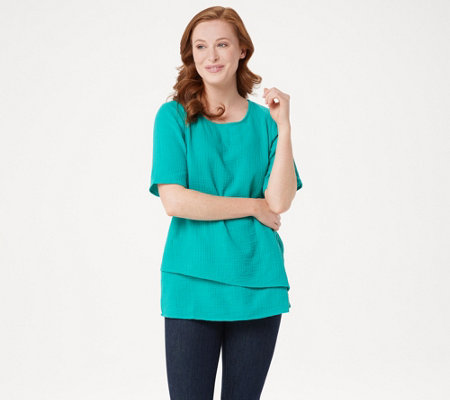 Joan Rivers Crinkle Texture Short-Sleeve Top with Hem Detail