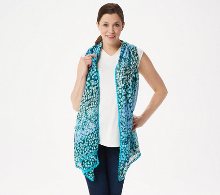 Isaac Mizrahi Live! Ditzy Floral Printed Scarf with Lollipop Trim