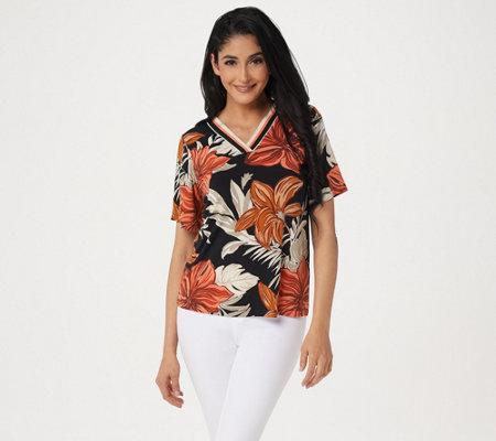 Susan Graver Printed Liquid Knit V-Neck Short- Sleeve Top