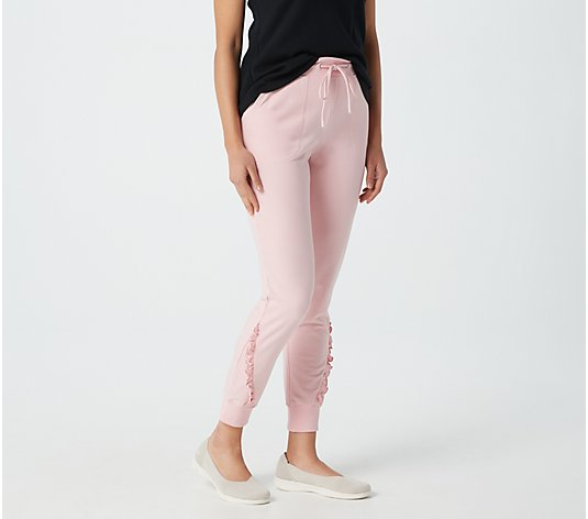 Denim & Co. Active French Terry Joggers with Ruffle Detail