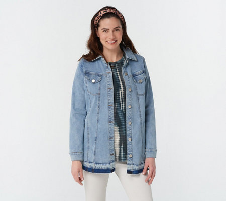 LOGO by Lori Goldstein Button Front Denim Jacket Denim Jacket