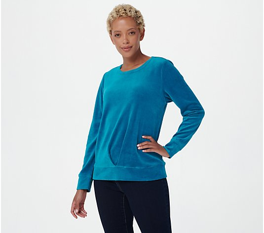 Denim & Co. Velour Round Neck Long Sleeve Top w/ Pleat Detail