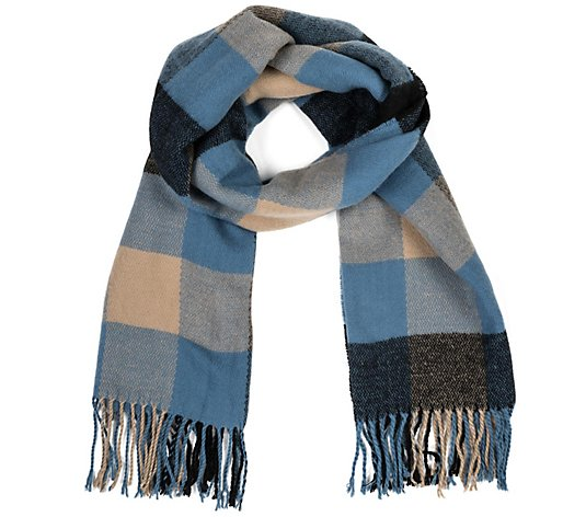 Glitzhome Color Block Plaid Scarf with Happy Fringe