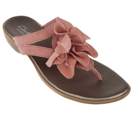 9ed9ba6db51 Clarks Bendables Leather Thong Sandals w Flower Detail - Page 1 ...