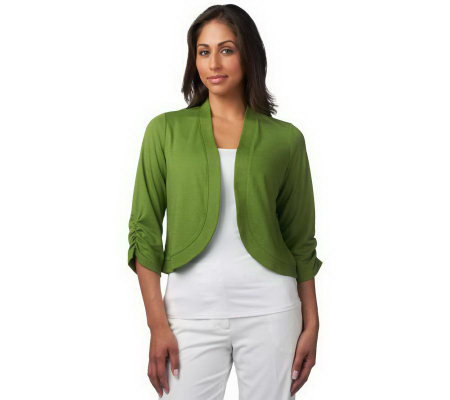 Susan Graver Ponte Knit Bolero with 3/4 Ruched Sleeves