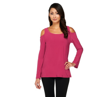 Carol Wior Long Sleeve Shaping Top with Cut Out Shoulder Detail