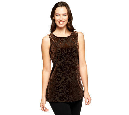 Susan Graver Burnout Velvet Sleeveless Bateau Neck Top