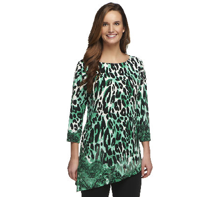 Susan Graver Liquid Knit Printed Top w/ Asymmetrical Hem