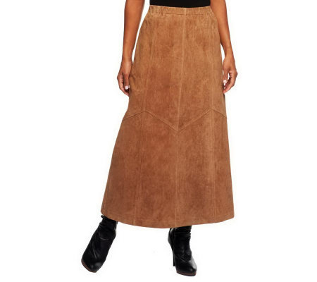 """As Is"" Denim & Co. Washable Suede Skirt with Seaming Detail"