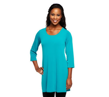 """As Is"" Susan Graver Essentials Liquid Knit 3/4 Sleeve Tunic"