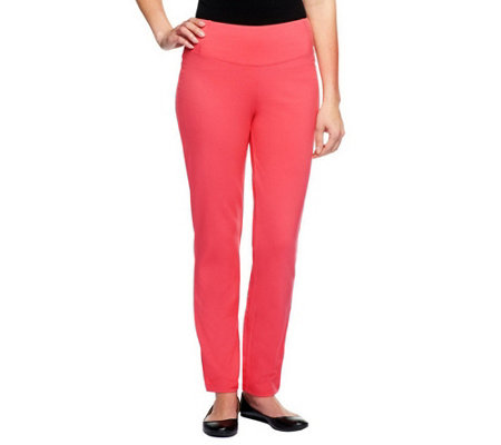"""As Is"" Women with Control Petite Slim Leg Ankle Pants w/ Waist Seams"