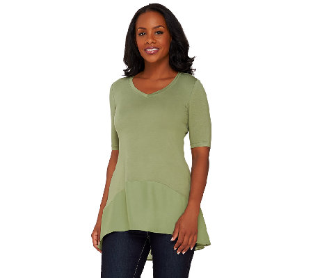 LOGO by Lori Goldstein Short Sleeve Knit Top with Chiffon Trim