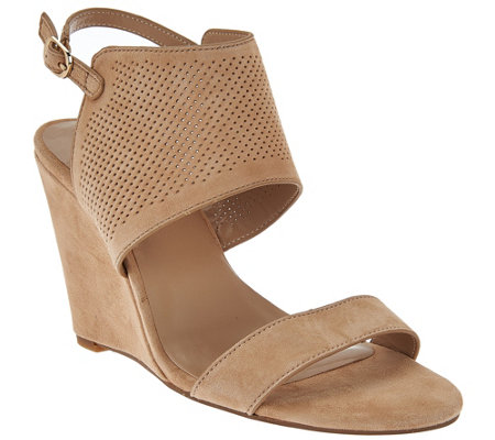 H by Halston High Wedge Suede Sandals - McKenzie