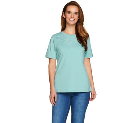 Denim & Co. Crew Neck Short Sleeve Top w. Neckline Embroidery