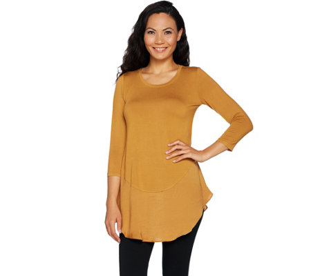 LOGO by Lori Goldstein Knit Top with Satin Trim Curved Hem