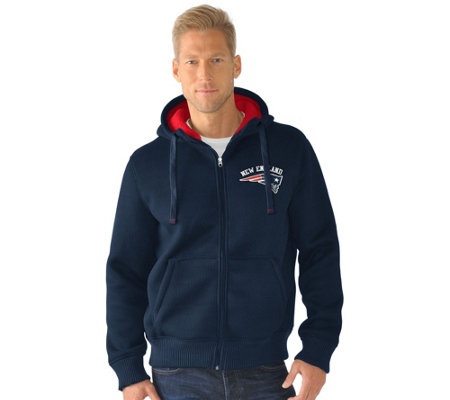 NFL Team Color Poly Knit with Sherpa Lining Zip Up Hoodie