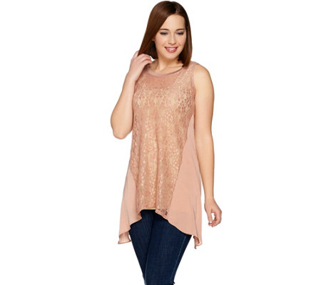 LOGO Layers by Lori Goldstein Lace Tank with Washer Satin Godets