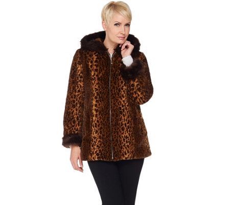 Dennis Basso Woven Animal Print Faux Fur Jacket with Hood