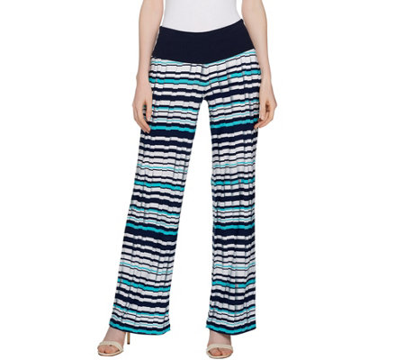 Women with Control Tall Tummy Control Pleat Printed Wide Leg Pants