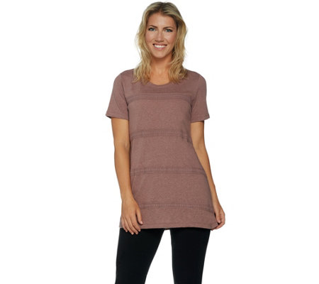 LOGO by Lori Goldstein Knit Top with Crochet Trim