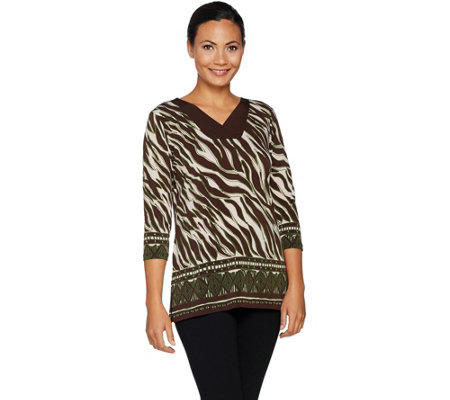 Susan Graver Printed Liquid Knit V-neck Tunic