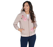 Susan Graver Embroidered Stretch Peachskin Bomber Jacket - A298498