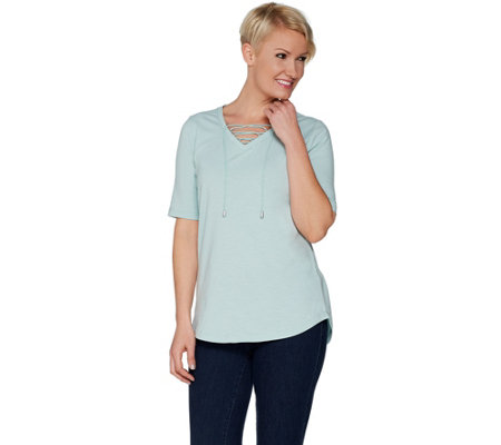 Isaac Mizrahi Live! TRUE DENIM Top with Lace-up Neck